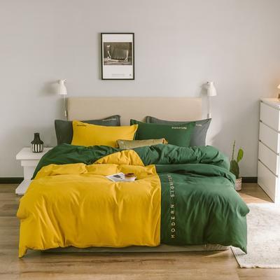 2020新款米兰-玻尿酸纯色双拼磨毛四件套简约风 1.5m床单款 米兰-魅黄绿