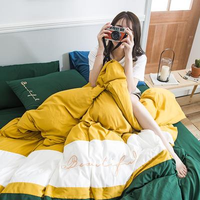 2020新款米兰-玻尿酸纯色双拼磨毛四件套简约风 1.8m床单款 飘-黄