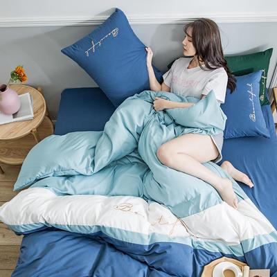 2020新款米兰-玻尿酸纯色双拼磨毛四件套简约风 1.8m床单款 飘-蓝