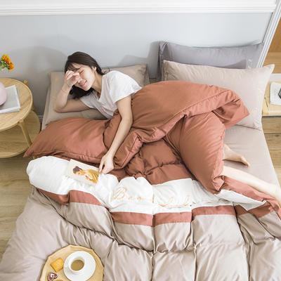 2020新款米兰-玻尿酸纯色双拼磨毛四件套简约风 1.8m床单款 飘-驼