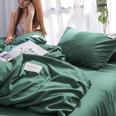 2020年新款纯色+双拼四件套简约日式北欧混搭风—-纯色简约系列套件 1.2m床单款四件套 墨绿