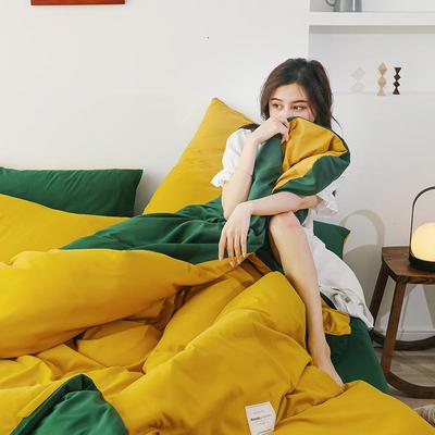2020年新款纯色+双拼四件套简约日式北欧混搭风—-纯色简约系列套件 1.2m床单款四件套 姜黄+墨绿