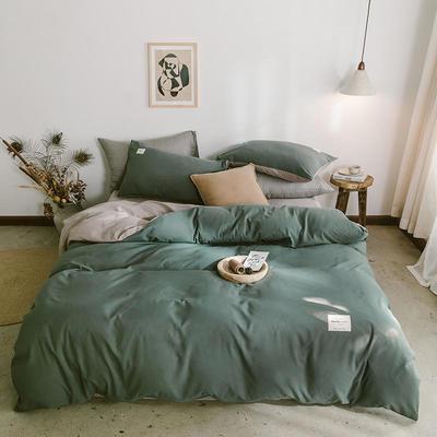 2020年新款纯色+双拼四件套简约日式北欧混搭风—-纯色简约系列套件 1.2m床单款四件套 果绿+卡其