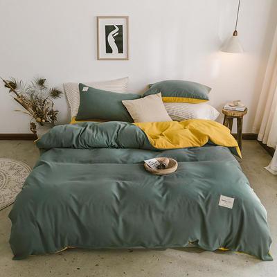 2020年新款纯色+双拼四件套简约日式北欧混搭风—-纯色简约系列套件 1.2m床单款三件套 果绿+姜黄