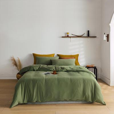 2020新款纯色日系简约风针织棉四件套-云絮 1.2m床单款四件套 云絮-橄榄绿
