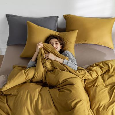 2020新款纯色日系简约风针织棉四件套-云絮 1.2m床单款四件套 云絮-黄+奶杏