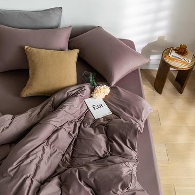 2020新款纯色日系简约风针织棉四件套-云絮 1.2m床单款四件套 云絮-琉璃紫