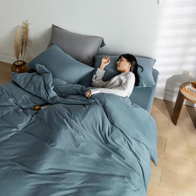 2020新款纯色日系简约风针织棉四件套-云絮 1.2m床单款四件套 云絮-羽纱蓝