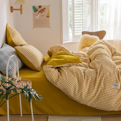 2020新款INS日系北欧格子印花系列四件套 1.2m床单款四件套 布丁黄