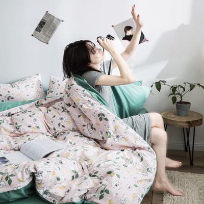 2020新款INS日系北欧格子印花系列四件套 1.2床单款三件套 花境-粉