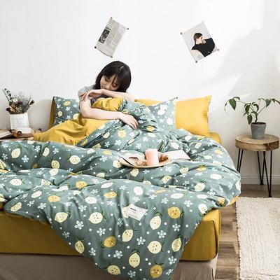 2020新款INS日系北欧格子印花系列四件套 1.2床单款三件套 可爱柠檬