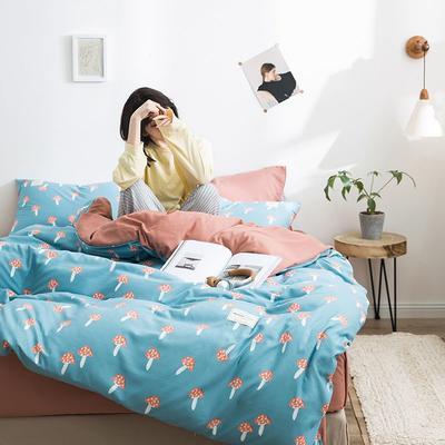 2020新款INS日系北欧格子印花系列四件套 1.2床单款三件套 蘑菇