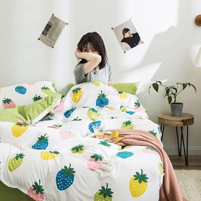 2020新款INS日系北欧格子印花系列四件套 1.2床单款三件套 七彩草莓