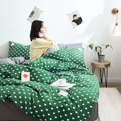 2020新款INS日系北欧格子印花系列四件套 1.2m床单款四件套 桃心-绿