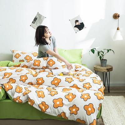 2020新款INS日系北欧格子印花系列四件套 1.2m床单款四件套 香气-橘