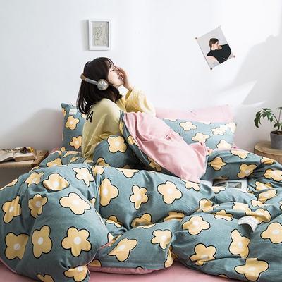 2020新款INS日系北欧格子印花系列四件套 1.2m床单款四件套 香气-蓝