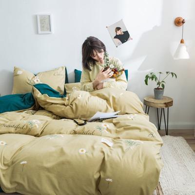 2020新款INS日系北欧格子印花系列四件套 1.2床单款三件套 小雏菊