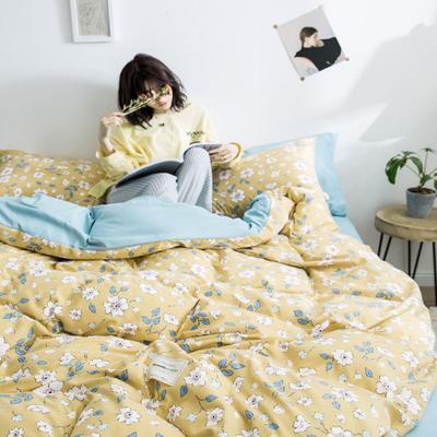 2020新款INS日系北欧格子印花系列四件套 1.2m床单款四件套 小雏菊-碎花