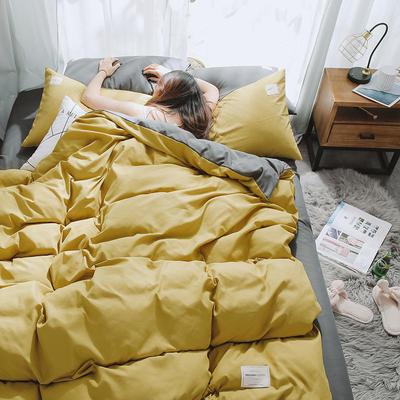 2020年新款纯色+双拼四件套简约日式北欧混搭风—-纯色简约系列 1.2m床单款三件套 姜黄+灰