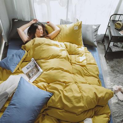 2020年新款纯色+双拼四件套简约日式北欧混搭风—-纯色简约系列 1.2m床单款三件套 姜黄+蓝