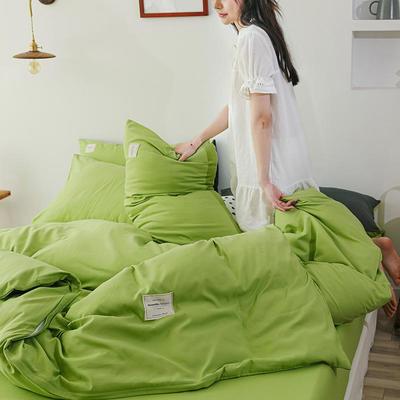 2020年新款纯色+双拼四件套简约日式北欧混搭风—-纯色简约系列 1.2m床单款三件套 牛油果绿