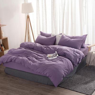 2020新款无印良品水洗棉四件套亲肤水洗棉纯色四件套 1.2m床单款四件套 优雅紫