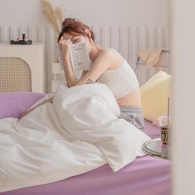 2020新款日系纯色简约格子混搭风美棉系列四件套 1.2m床单款三件套 混搭-白色+葡萄紫