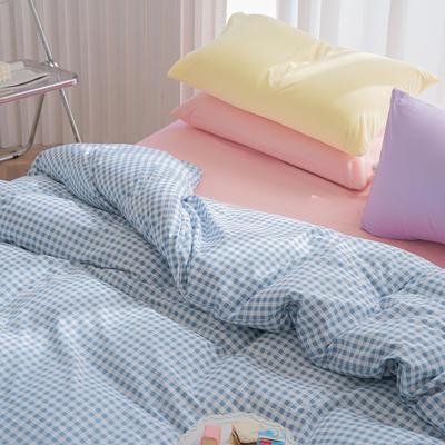 2020新款日系纯色简约格子混搭风美棉系列四件套 1.2m床单款三件套 混搭-布丁蓝+少女粉