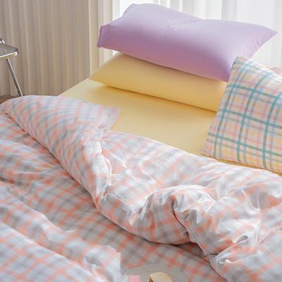 2020新款日系纯色简约格子混搭风美棉系列四件套 1.2m床单款三件套 混搭-奶油格桔+柠檬黄