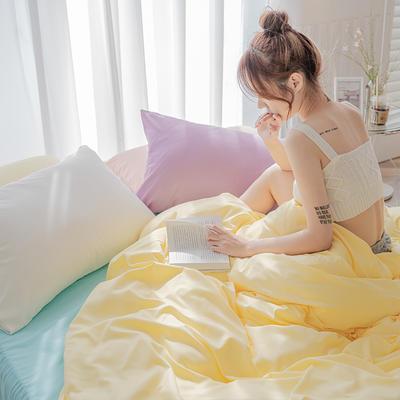 2020新款日系纯色简约格子混搭风美棉系列四件套 1.2m床单款三件套 混搭-柠檬黄+baby蓝