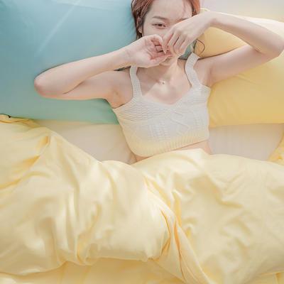 2020新款日系纯色简约格子混搭风美棉系列四件套 1.2m床单款三件套 混搭-柠檬黄+白色