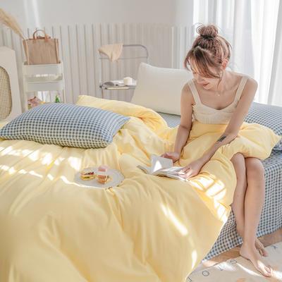 2020新款日系纯色简约格子混搭风美棉系列四件套 1.2m床单款三件套 混搭-柠檬黄+布丁蓝