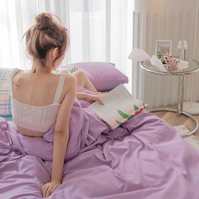 2020新款日系纯色简约格子混搭风美棉系列四件套 1.2m床单款三件套 混搭-葡萄紫+baby蓝