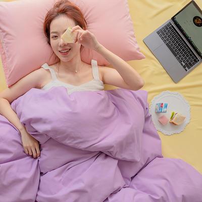 2020新款日系纯色简约格子混搭风美棉系列四件套 1.2m床单款三件套 混搭-葡萄紫+柠檬黄