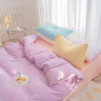 2020新款日系纯色简约格子混搭风美棉系列四件套 1.2m床单款三件套 混搭-葡萄紫+少女粉