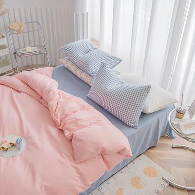2020新款日系纯色简约格子混搭风美棉系列四件套 1.2m床单款三件套 混搭-少女粉+浅蓝灰