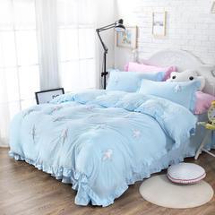 韩国立体小树绣花四件套 ins水洗棉泡泡纱被套纯色床单荷叶边韩版 1.2m(4英尺)床 天空蓝