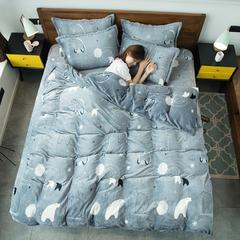 2018新款法兰绒印花系列四件套 1.5m(5英尺)床 ins-北极熊