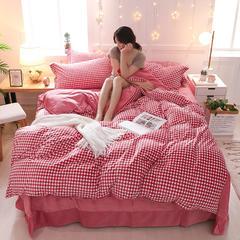 2018新款天鹅绒四件套 1.5m(5英尺)床 别具一格 红
