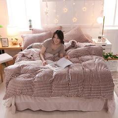 2018新款天鹅绒四件套 1.5m(5英尺)床 别具一格 咖