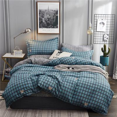 2019新款植物羊绒四件套 1.2m床单款三件套 诺言-蓝