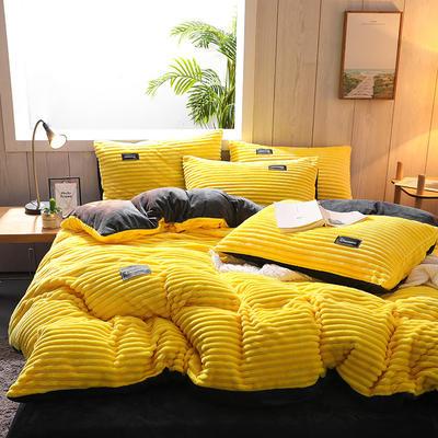 2020新款魔法绒系列四件套 1.8m床单款四件套 柠檬黄