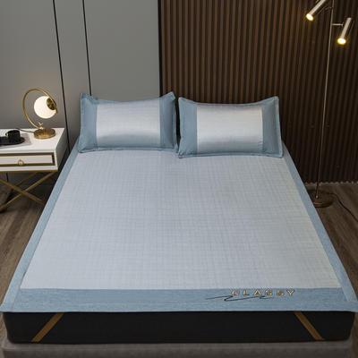2021新款800D肌理纹可水洗冰丝席 180*200cm三件套 空间-蓝