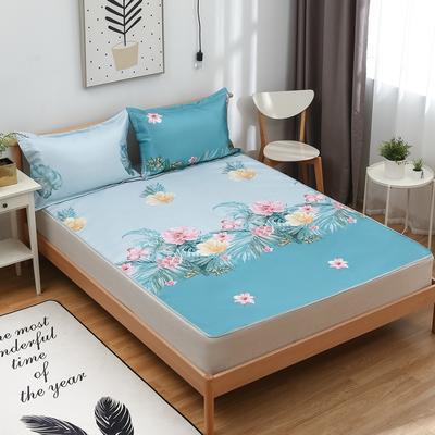 2021新款可水洗冰丝席(床席款) 120*195cm 热带雨林-蓝