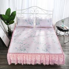 2018夏季新品  水洗床裙冰丝席三件套 150*200+40cm 春暖花开-粉