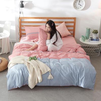 2019新款全棉色织水洗棉四件套 1.2m(4英尺)床 时尚布朗尼