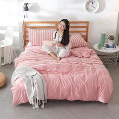 2019新款全棉色织水洗棉四件套 1.2m(4英尺)床 时尚初见粉