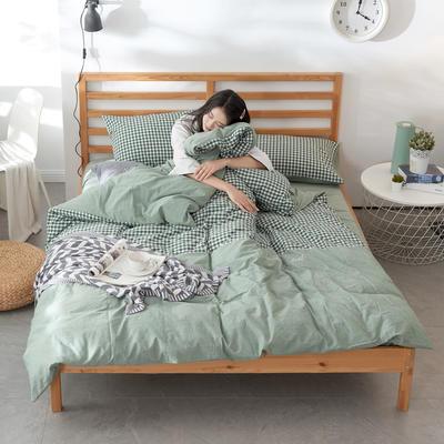 2019新款全棉色织水洗棉四件套 1.2m(4英尺)床 时尚小绿格