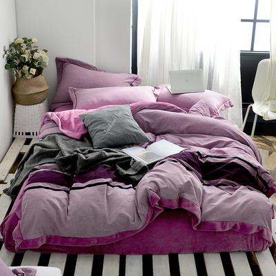 2019新款全棉色织加厚牛奶绒四件套 2.0m床单款 紫豆沙