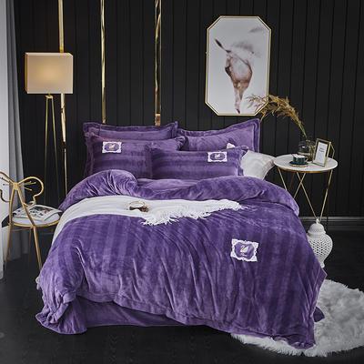2019新款加厚牛奶绒提花刺绣工艺款四件套系列-天鹅之吻 1.5m-1.8m床单款 深紫